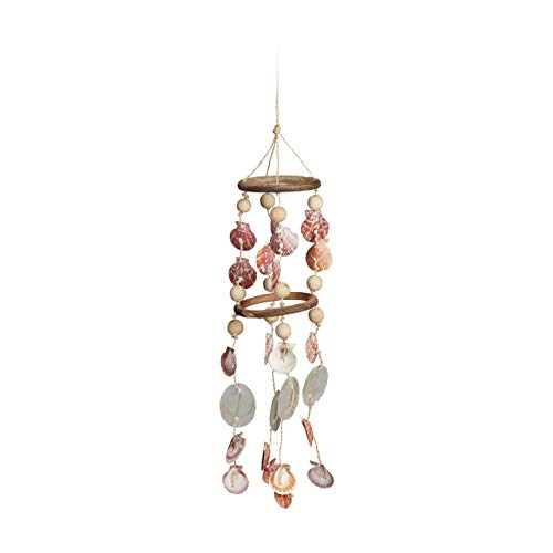 Relaxdays Seashell Wind Chimes, Driftwood, Maritime Beach Garland, Garden Decoration, Capiz Mobile, 75 cm, Natural
