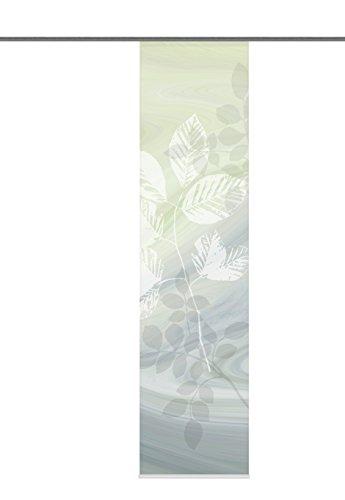 Home Fashion 87667-768 Schiebewand Digitaldruck Toupillon Dekostoff mit Paneelwagen und Klemmschiene, 245 x 60 cm, grün