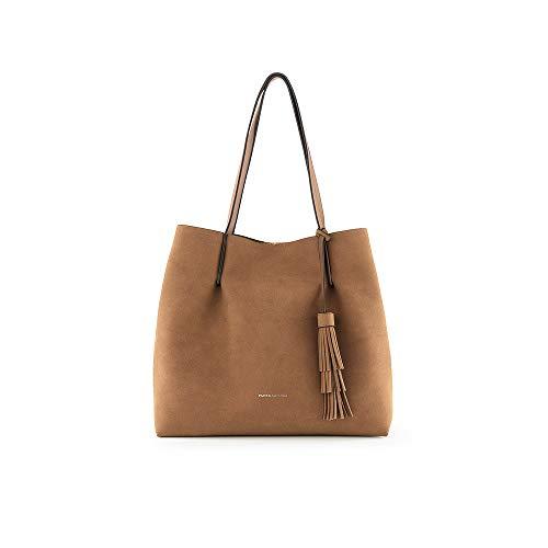 PACO MARTINEZ | Bolso Shopper soft borla para mujer | Efecto textura | 31x33x13,5 | Marrón Beige Camel