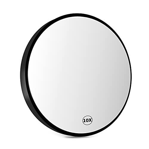 Fingertoys 10-facher Vergrößerungsspiegel, Make-up-Spiegel 8,8 cm Rund mit 2 Saugnäpfen, Verwendet für Badezimmer, Make-up-Schönheitspflege, Pinzetten und Rasieren