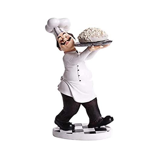 DIELUNY Figura de Chef Resina Adornos Palillo Titular Casa Panadería Restaurante Pastel Tienda Vino Estante Hotel Cafetería Decoración de Escritorio Festival Año Nuevo Regalos