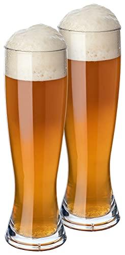 PREMIUM Weizenbiergläser Kunststoff Plastik bruchsichere Mehrweg-Gläser, wiederverwendbar, spülmaschinenfest für Camping, Bars und Diskotheken - BPA frei, Glas-Optik (2, Weizenbier)