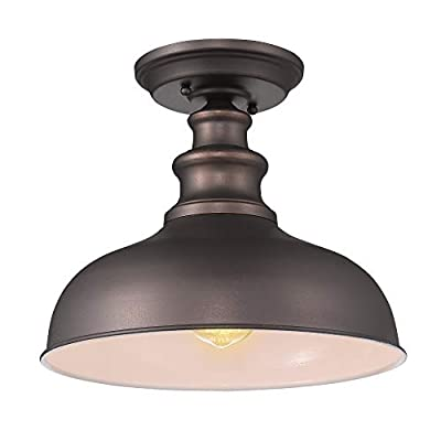 Zeyu Industrial Close to Ceiling Light Fixture, 1-Light Farmhouse Semi Flush Lighting for Hallway, Oil Rubbed Bronze Finish, 02A391 ORB