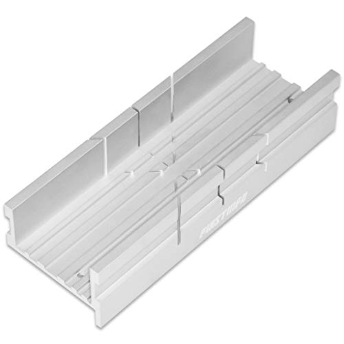FIRSTINFO Metal Small Aluminum Miter Box 5.5 Inch Small Tiny Mitre Box for Manual Saw for Hand Saw 3 Cutting Angles