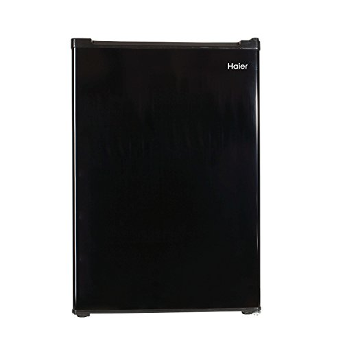 Haier 3.3 cu ft Refrigerator | 2 Interior Glass Shelves for Organization - Full-Width Freezer Compartment, Black