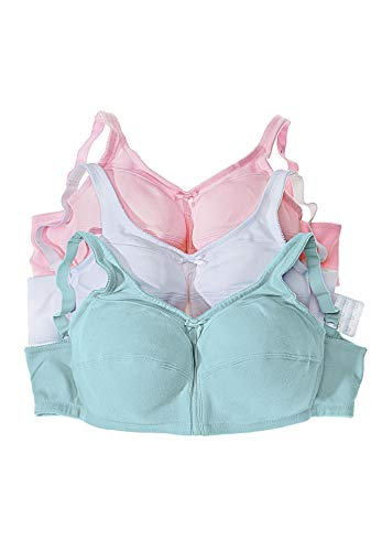 Comfort Choice Women's Plus Size 3-Pack Cotton Wireless Bra - 54 G, Pastel Assorted
