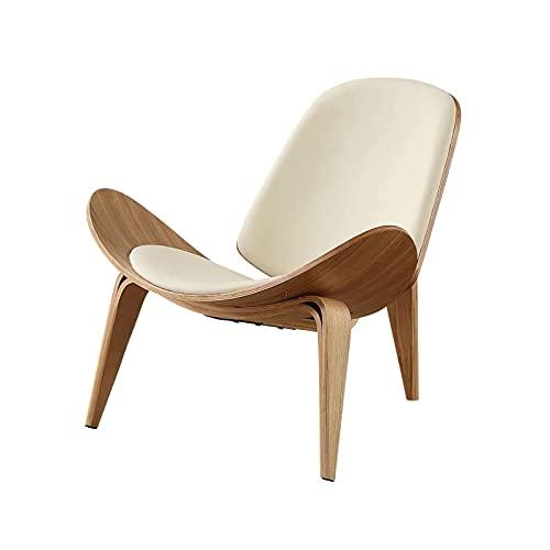 CHENMAO Silla Creativa Minimalista diseñador de un Solo sofá Silla Silla de Shell sillón (Color : Log White Mat)
