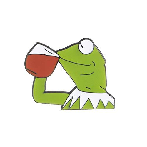 U/K Lustiger Unisexfrosch Pepe, der Rotwein-Ausdruck-Karikatur-Brosche Pin New Released trinktSicherheit