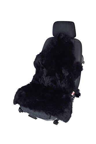 Autofell Sitzauflage Sitzbezug Lammfell-Naturform langwollig für Ledersitze (Schwarz)