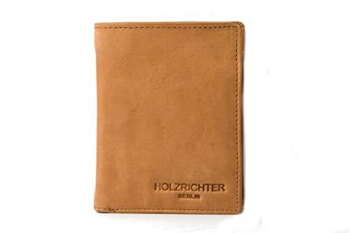 HOLZRICHTER Berlin Premium Geldbörse aus Leder (L) - Handgefertigtes Herren Portemonnaie hoch - Camel-braun