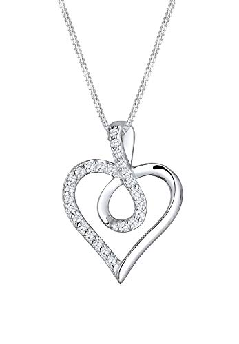 Elli Halskette Damen Infinity Herz Symbol mit Zirkonia in 925 Sterling Silber rosé vergoldet