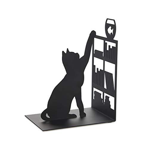 Balvi Sujeta Libros Fishing Cat Color Negro Sujetalibros Decorativo con Figura de Gato, libreria y pez en pecera Hierro 17 cm