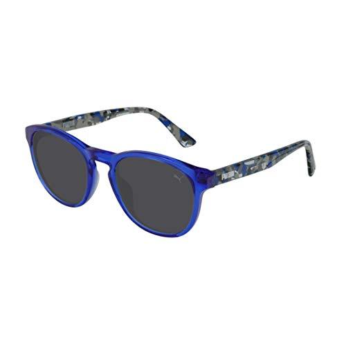 PUMA Unisex-Kinder Junior Sonnenbrille, Havana/Blue/Smoke, 48