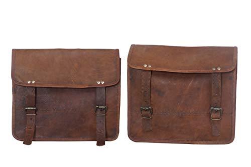 2 x Motorradtasche Leder braune Seitentasche Satteltaschen (2 Taschen) Motorrad Fahrrad
