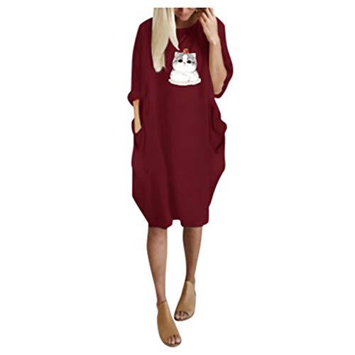 manadlian Mini Robes Femmes Robe Manche Courte Chic Tee-Shirts Robes Eté Casual Loose Longue T-Shirt Robe de Soirée Cocktail Col Rond Midi Dress Décontractée LâchesRobe de Plage