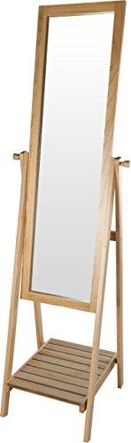 Espejo de pie con estante – aprox. 174,5 x 49 x 41,5 cm – Espejo de armario de madera para pasillo espejo