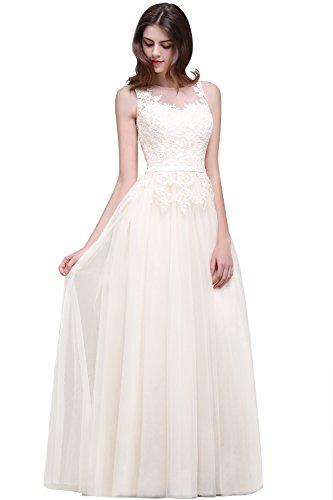 MisShow Damen elegant Tuell Abendkleid Ballkleider Maxilang Festliches Hochzeitskleid Ivory 44