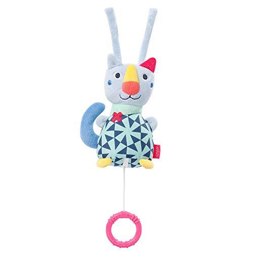 Fehn 055023 Mini-Spieluhr Katze COLOR Friends – Kuschelige Babyspieluhr mit herausnehmbarem Spielwerk und Befestigung – Melodie
