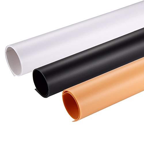 Kingwon, fondale fotografico in PVC 120x 60cm / 80x 40cm (arancio + nero + bianco) sfondo per foto e video da studio fotografico
