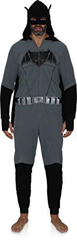 Underboss Batman Mens Onesie Union Suit Pajama Costume Black/Grey, Medium