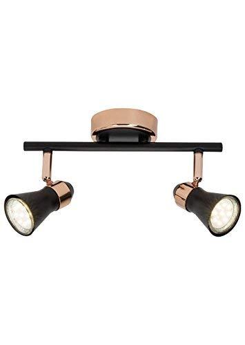 Brilliant JUPP LED plafondlamp 14 cm koper/zwart mat 2 lampen