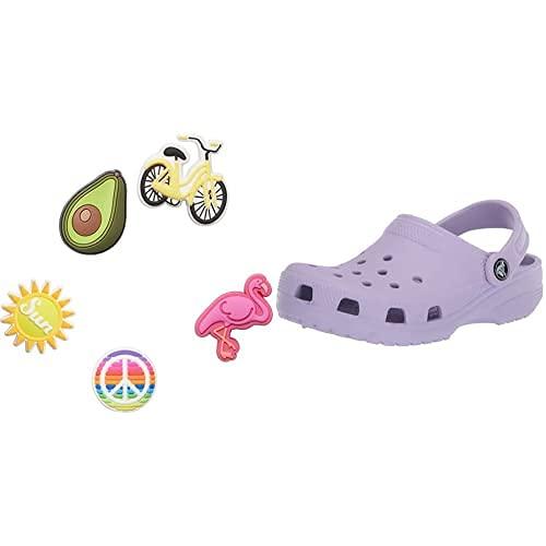 Crocs Classic Zuecos, Unisex Adulto, Morado (Lavender), 37/38 EU + Jibbitz 5 Pack Encantos para Zapatos, Personalizar con Jibbitz para Crocs Sunny Days, Talla Única