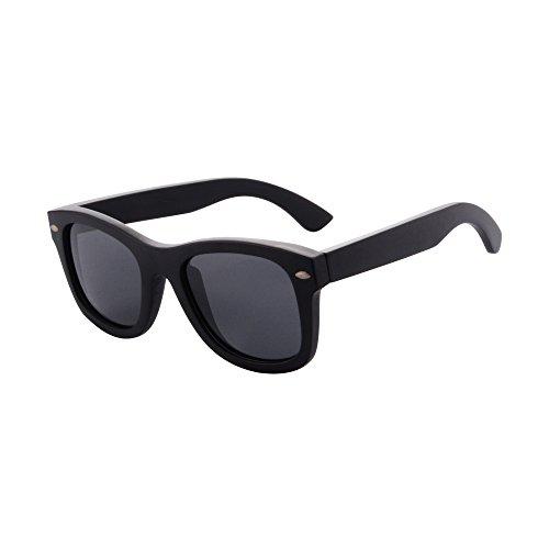 SHINU Vidrios de Madera Para Hombres Polarizaron Las Gafas de Sol de Madera-Z68004 (bamboo black, grey)