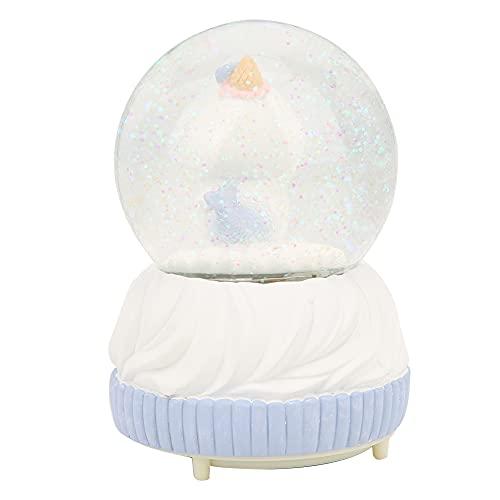 Bola de cristal púrpura, resina sintética y componente electrónico y efecto de iluminación de vidrio 3 x caja de música de bola de batería seca AAA para adorno de decoración del hogar