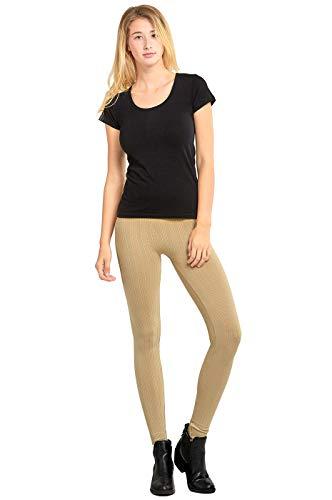 Sofra Leggings - Women's Seamless Cable Knit Fleece Leggings - Beige