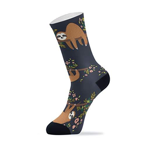 Linomo - Calcetines de deporte al aire libre con diseño de flor perezoso para hombre y mujer, 1 paquete, Hombre, multicolor