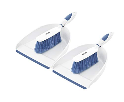 Dustpan and Brush Set (2 Pack) Hand Broom with Ergonomic Grip Handle, Rubber Edge for Easy Dirt Pickup, Durable Material to Help Keep Clean Everywhere. by Superio