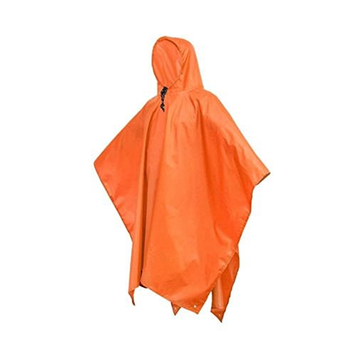 Ponchos Pluie Imperméables à Capuche 3 en 1,Multi-Fonctionnel Haute qualité Tapis de sol Bâche pare-soleil PU Pour Camping Randonnée Cyclisme Activité En Plein Air Orange Adultes par CGBOOM