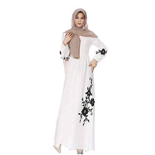COZOCO Robe Musulmane Femmes Dentelle Maxi Robe Kimono Ouvert Robe Caftan Dubai Robe de Mariée Femmes Vêtements(Blanc,EU-38/CN-L)