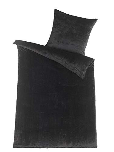MALIKA Winter Plüsch Bettwäsche Nicky-Teddy Cashmere Coral Fleece 135x200 155x220 200, Größe:135 x 200 cm, Designe:SCHWARZ