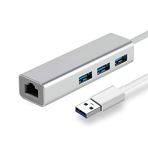 LHYCM USB 3.0 Hub, Mini 3 Port USB3.0 Hub RJ45 Gigabit Ethernet Port High-Speed Stable Data Transmission Docking Station for MacBook/Mac Pro/Mini/iMac/XPS/Surface Pro,Silver