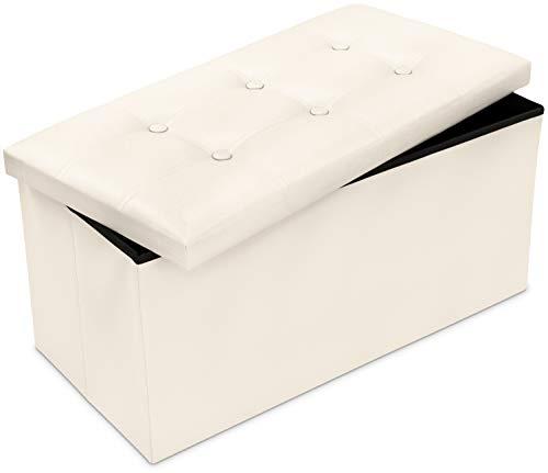 Grinscard Große Sitzbank mit Gepolstertem Deckel & Staufach - ca. 76 x 38 x 35 cm, Cremeweiß -...