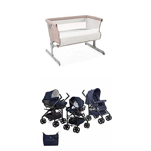 Chicco Next2Me Cuna de Colecho para Bebé con Colchón y Bolsa de Viaje 0-6 Meses, 9 kg - Beige (Sand) y Trío Sprint - Cochecito de Paseo 3 en 1, 0-15 kg, Color Azul (Blue Passion)
