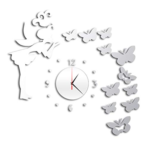 YOUNGE Wanduhr 3D Kunstspiegel Schmetterling Fee Wandaufkleber Uhr Aufkleber DIY Kinderzimmer Home Decor Wall Clock 3D Art Mirror Butterfly Fairy Wall Sticker Clock Sticker DIY Kids Room Home Decor