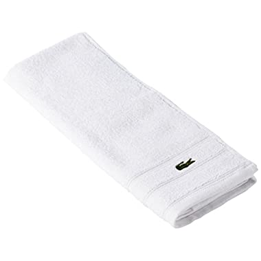 Lacoste Croc Towel, 100% Cotton, 650 GSM, 16 x30  Hand Towel, White