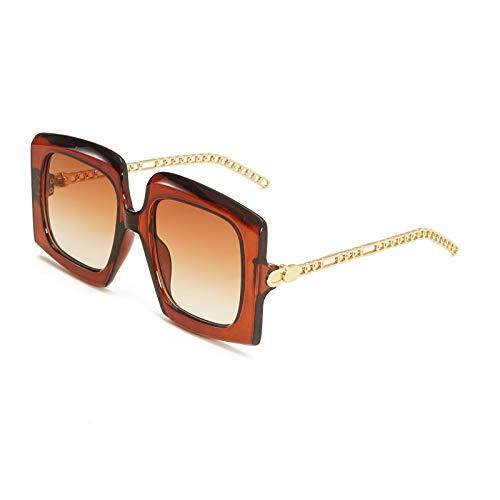 Vibner Gafas de Sol Gafas De Sol con Escudo De Moda para Mujer, Hombre, Tendencia, Cadena De Metal, Pierna, Marco De Aleación De Leopardo Negro, Gafas De Sol De Diseñador De Marca De Lujo C4