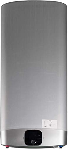 Fleck Grupo Ariston Termo Eléctrico 50 litros   Calentador de Agua Vertical y Horizontal, Multiposición, Serie Duo 7, Gris Plateado - Display LCD, Resistencia Blindada Sumergida Antical