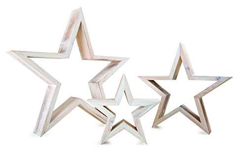 """Dekofiguren \""""Stern\"""", 3-er Set aus Holz, abwechslungsreich dekorierbar, im angesagten Shabby Chic Look"""