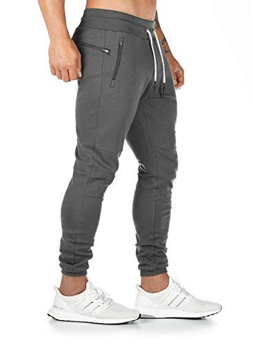 Yidarton Pantalon de Jogging Homme Casual Mode Training Pants Pantalon De Survêtement Taille Élastique Coton Automne Hiver (A-Gris foncé, Medium)