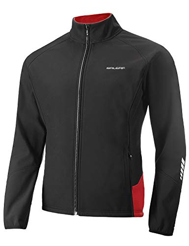 BALEAF Men's Windproof Cycling Running Jacket Thermal Softshell Water-Repellent Lightweight Windbreaker Winter Black Red Size XL