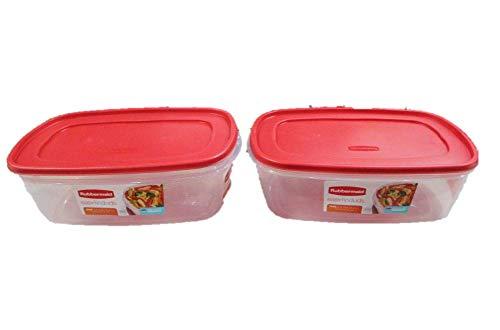 Rubbermaid Easy Find Frischhaltedose mit Deckel, quadratisch, 2,5 l, Rot, 2 Stück
