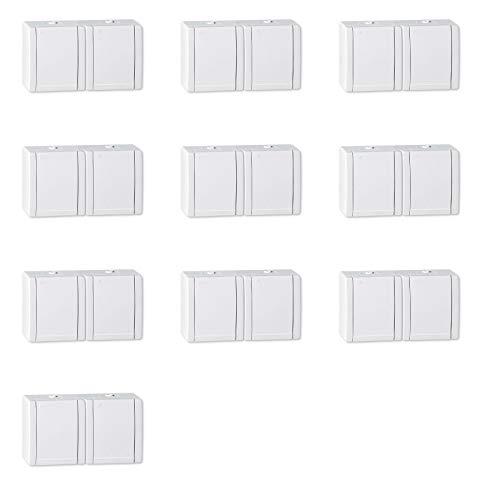 ALING-CONEL 2-fach Aufputz Schutzkontakt Steckdose mit Klappdeckel 16A/250V~ / IP44 - Weiß (10er Set)