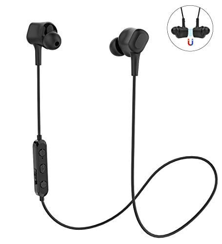 In Ear Kopfhörer Bluetooth 5,0 Langsdom, IPX5 Wasserdicht Sport Kopfhörer, Bluetooth Kopfhörer mit Kabel Joggen/Laufen für iPhone Android (L16, Schwarz)