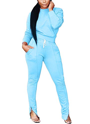 Sweatshirt Sets for Women Solid Sweatsuit Set Hoodie and Pants Sport Suits Tracksuits Light Blue