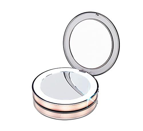 FAYANG Miroir De Compact Poche Grossissant Miroir Lumineux LED Rond Pliable avec Grossissement 3 pour Maquillage Beauté Ou Alors Voyage,Gold
