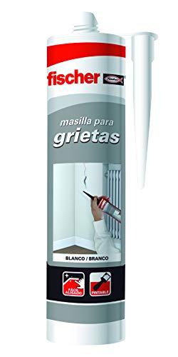 fischer – masilla acrílica Relleno de Grietas Blanco (tubo de 300 ml) para reparaciones en interiores, se puede pintar, lavable con agua, gran adherencia multi-material, fácil aplicación